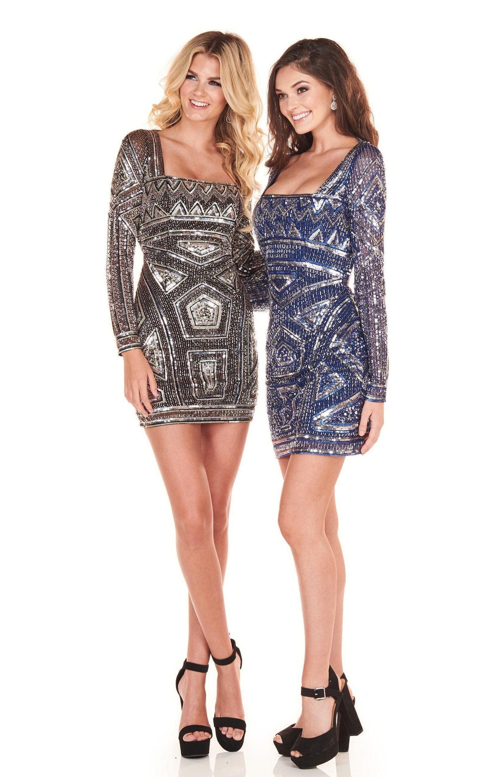 Rachel Allan Homecoming - 4000 Embellished Long Sleeves Cocktail Dress In Black and Blue