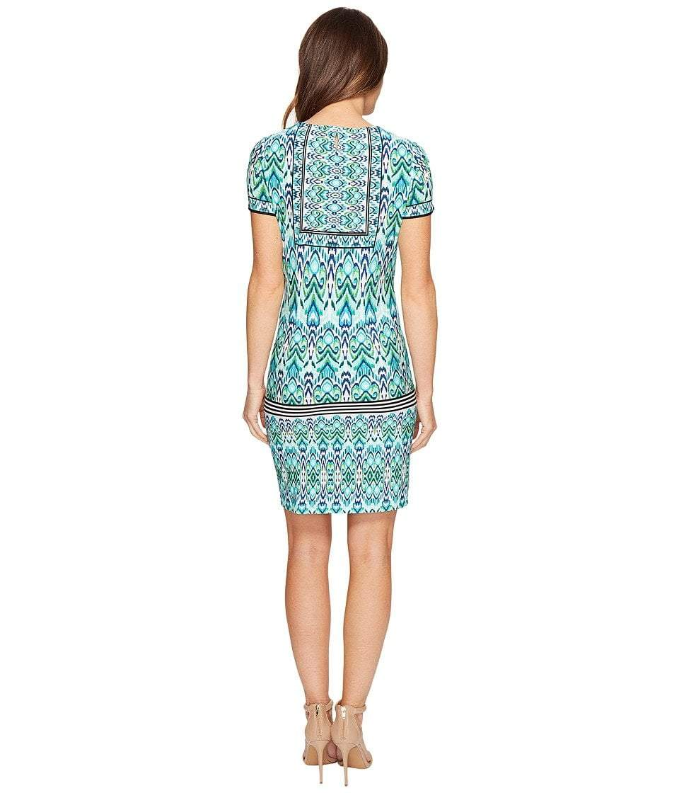 London Times - T2512M Short Sleeve Multi-Print Sheath Dress in Blue and Green