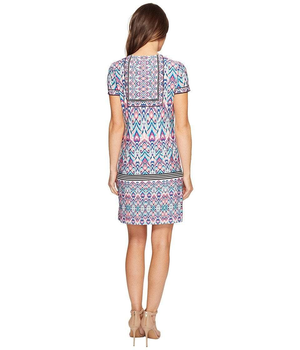 London Times - T2512M Short Sleeve Multi-Print Sheath Dress in Pink and Multi-Color