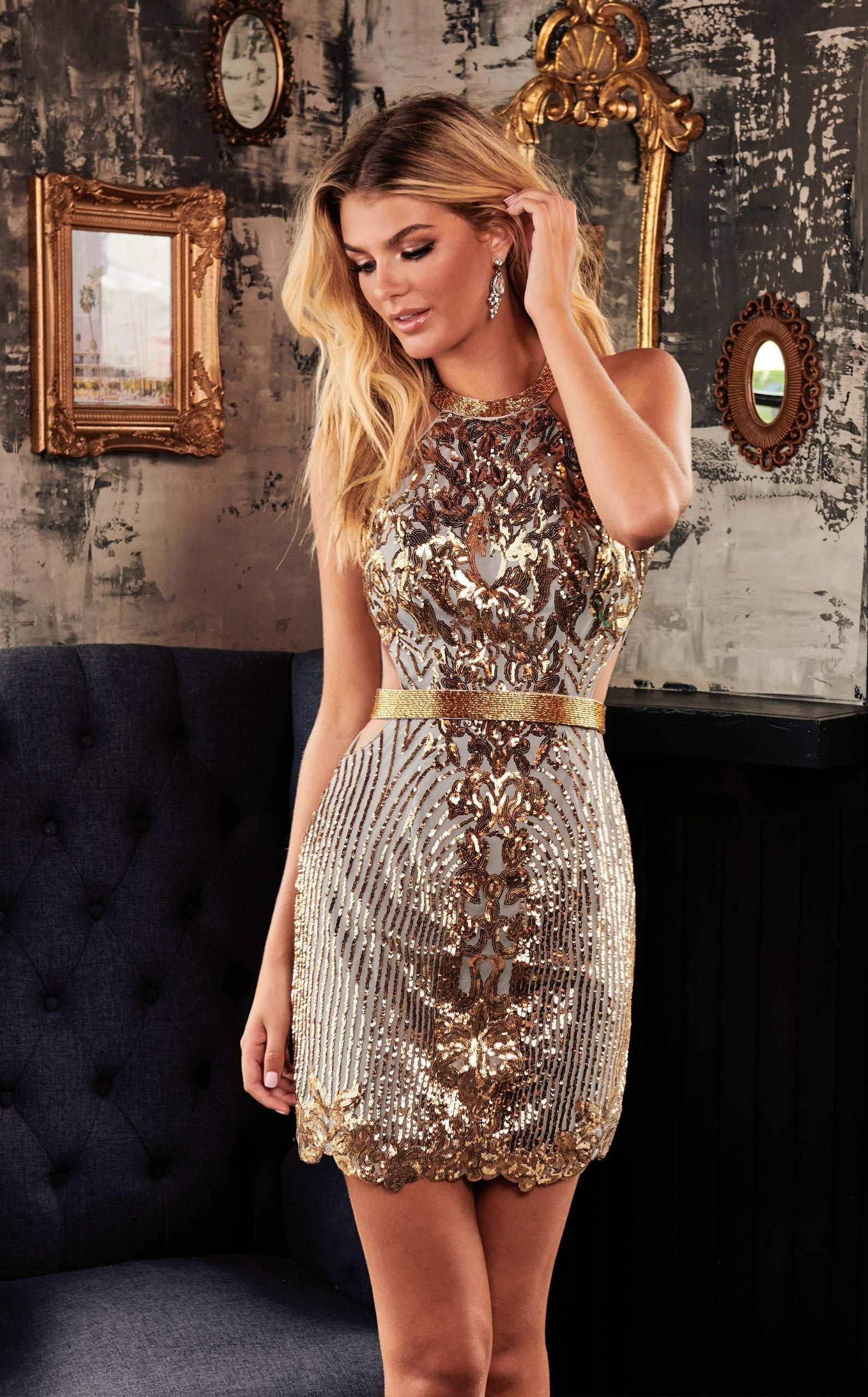 Rachel Allan Homecoming - 4004 Sequined Halter Fitted Cocktail Dress In Silver and Gold