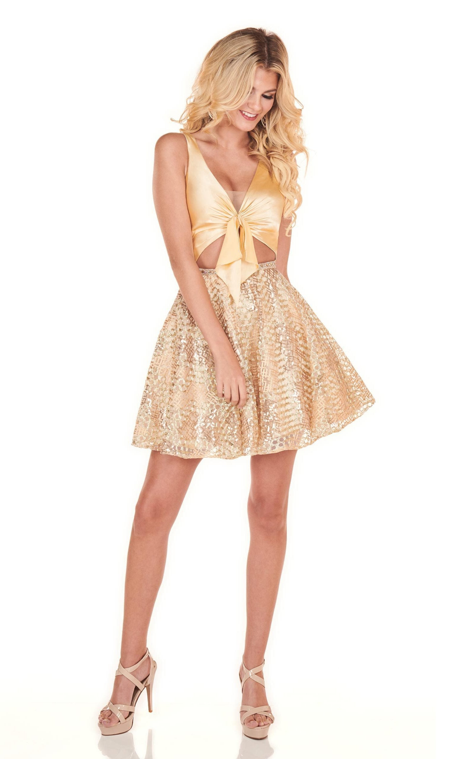 Rachel Allan Homecoming - 4005 Faux Tie Plunging V Neck Cocktail Dress In Gold