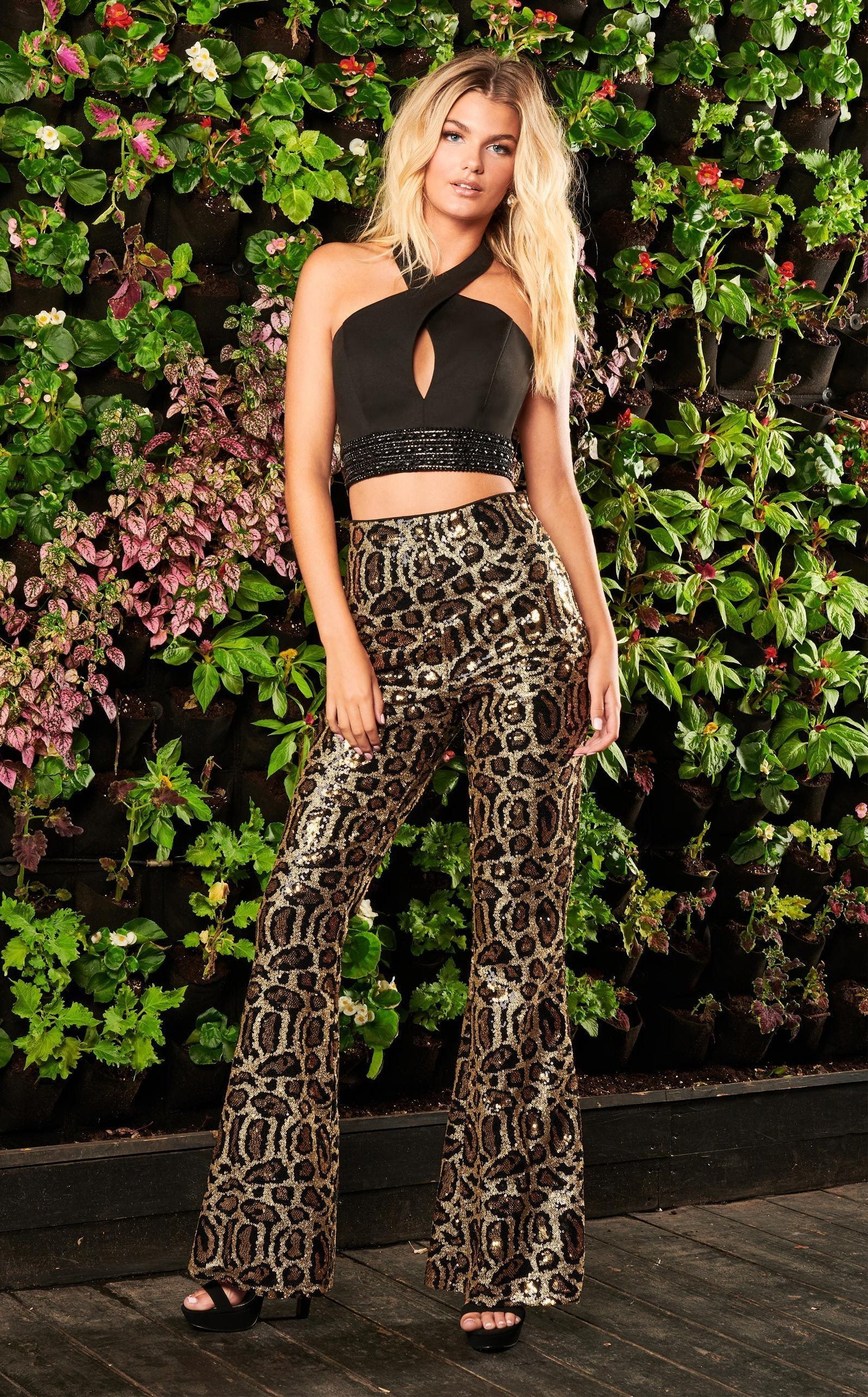 Rachel Allan Homecoming - 4007 Sequined Halter Jersey Pantsuit In Black and Brown