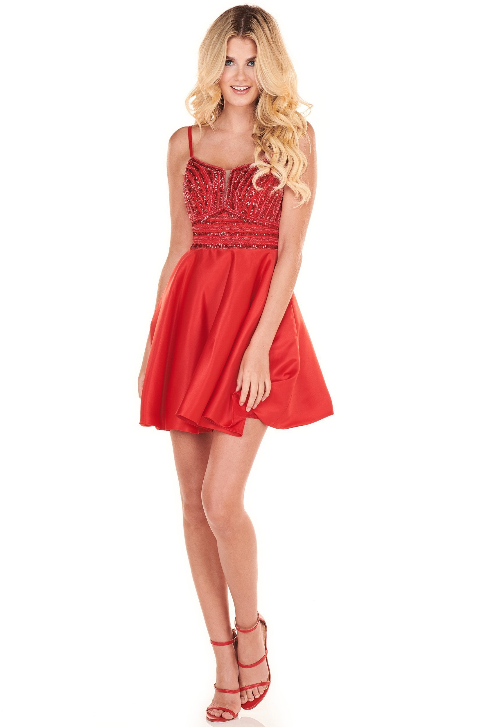 Rachel Allan Shorts - 4013 Beaded A-Line Strappy Back Dress In Red