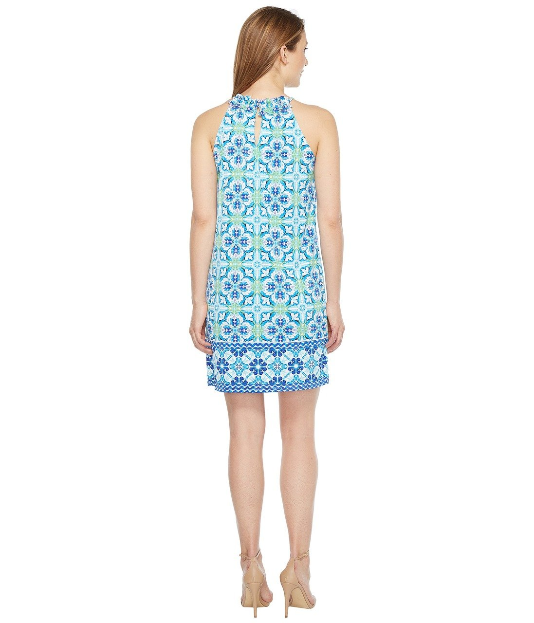 London Times - T2935M Ruffled Halter Sheath Dress in Blue and Green