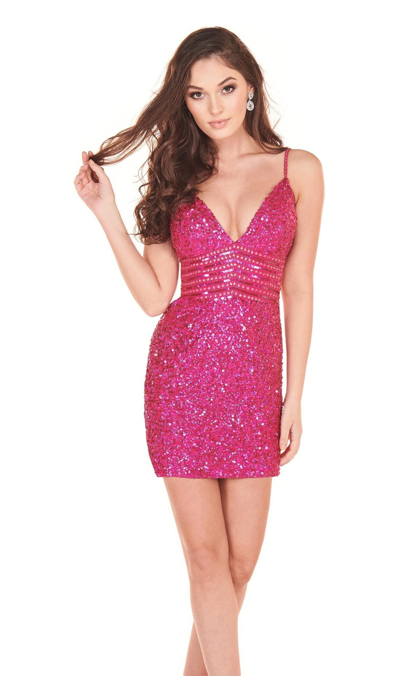 Rachel Allan Homecoming - 4024 Fully Beaded Fitted Cocktail Dress In Pink
