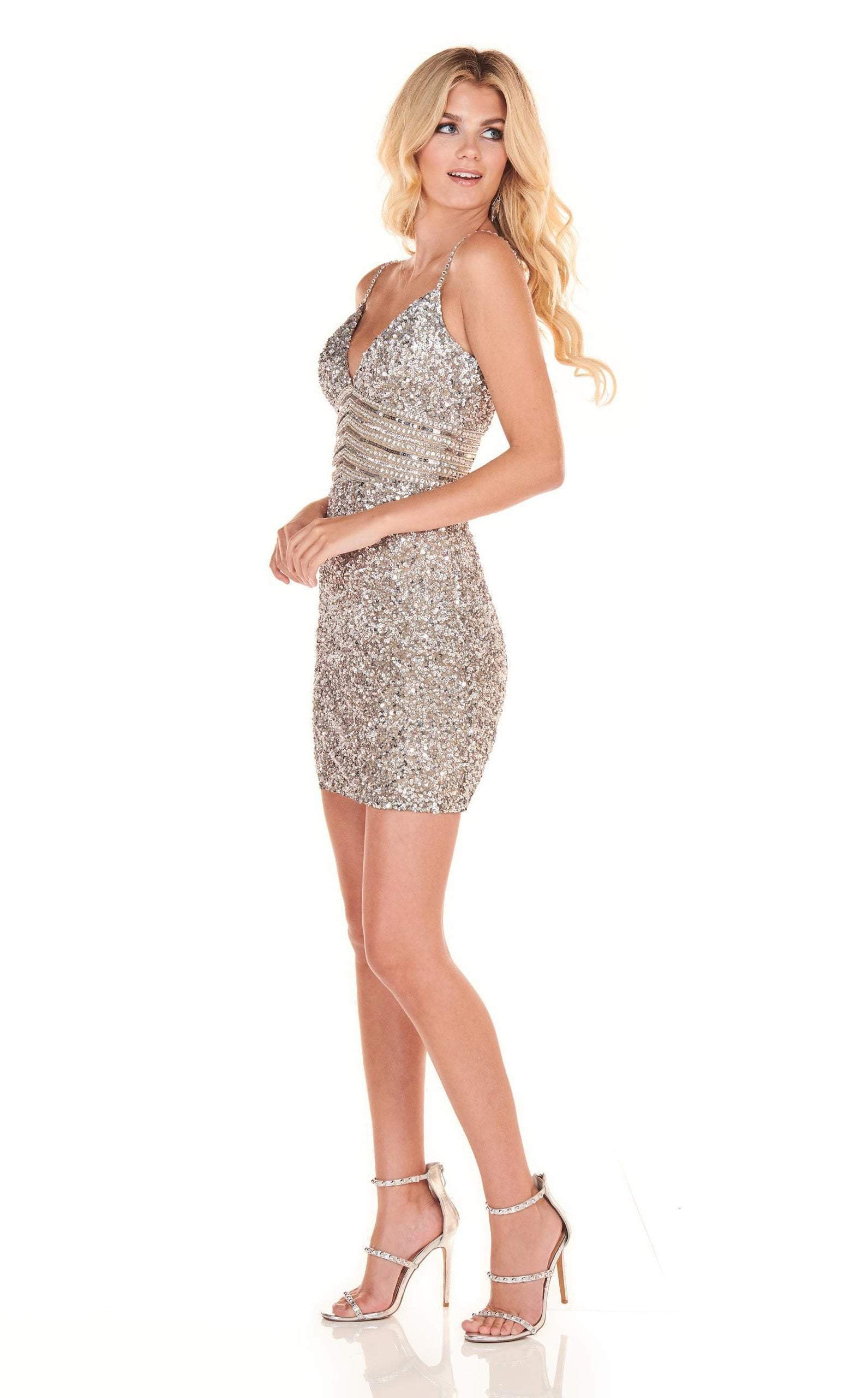 Rachel Allan Homecoming - 4024 Fully Beaded Fitted Cocktail Dress In Silver