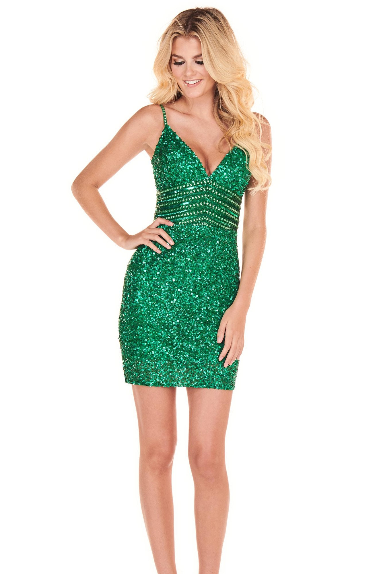 Rachel Allan Homecoming - 4024 Fully Beaded Fitted Cocktail Dress In Green