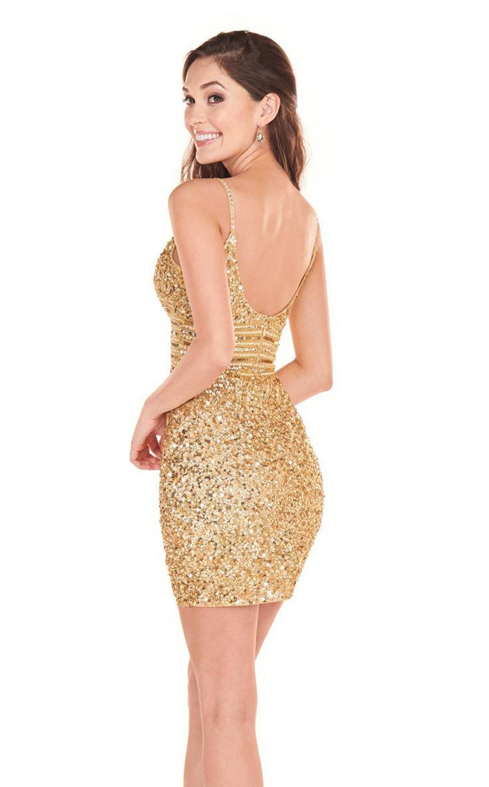 Rachel Allan Homecoming - 4024 Fully Beaded Fitted Cocktail Dress In Gold