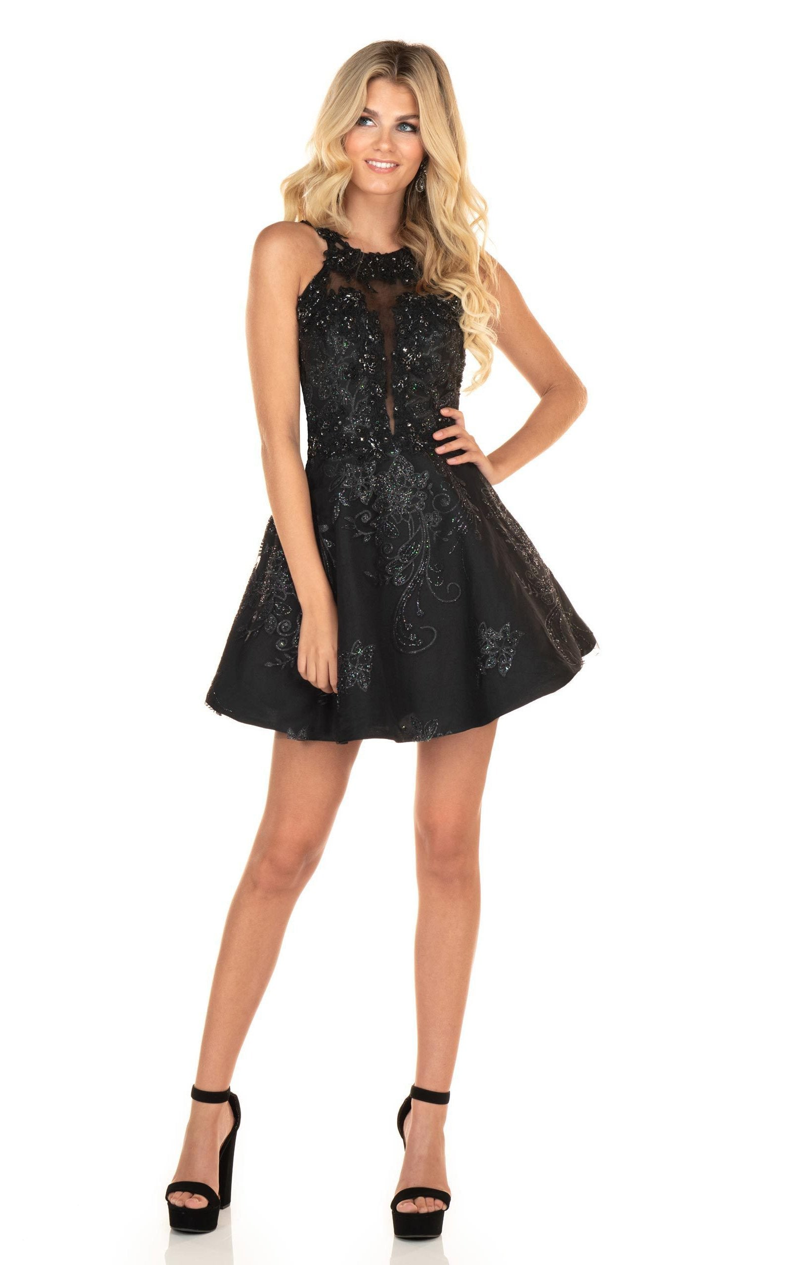 Rachel Allan Homecoming - 4032 Beaded Applique A-Line Cocktail Dress In Black