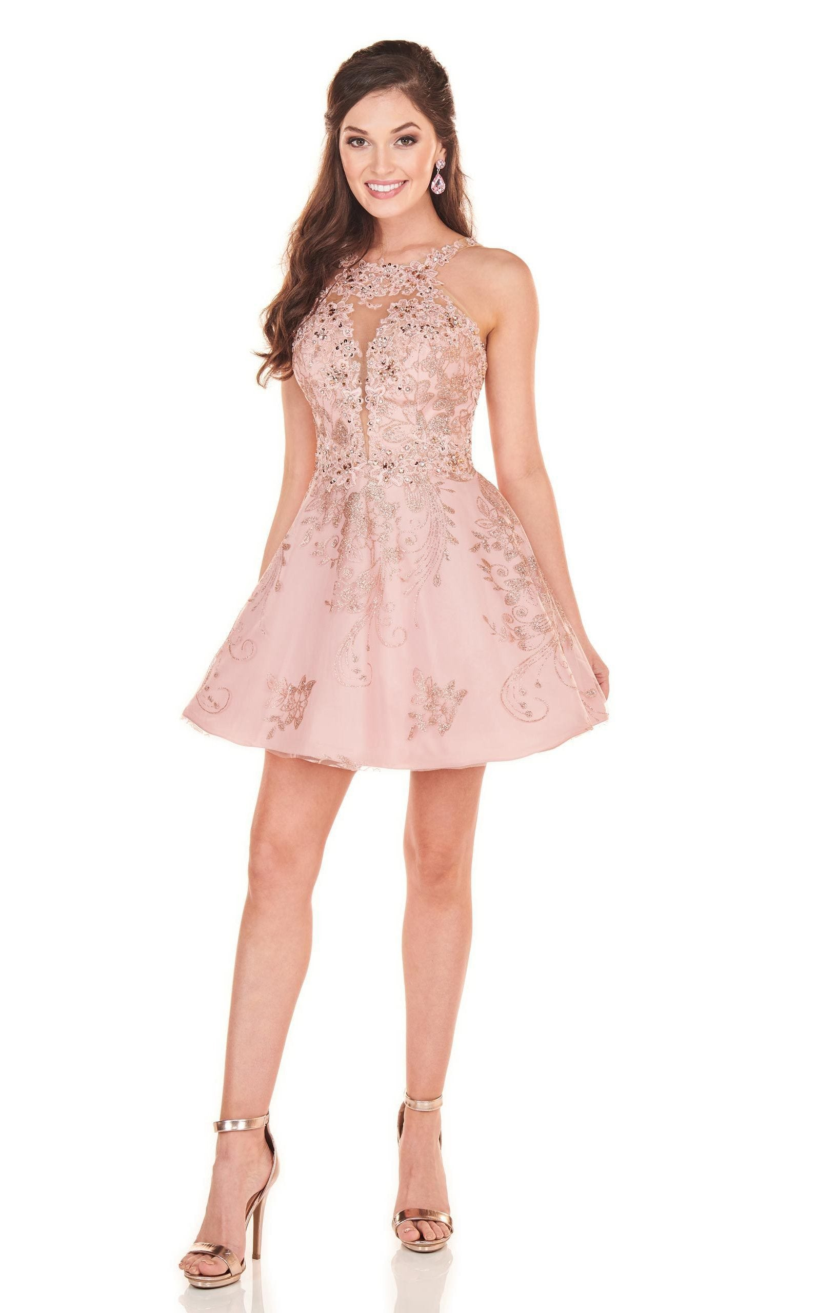 Rachel Allan Homecoming - 4032 Beaded Applique A-Line Cocktail Dress In Pink and Gold