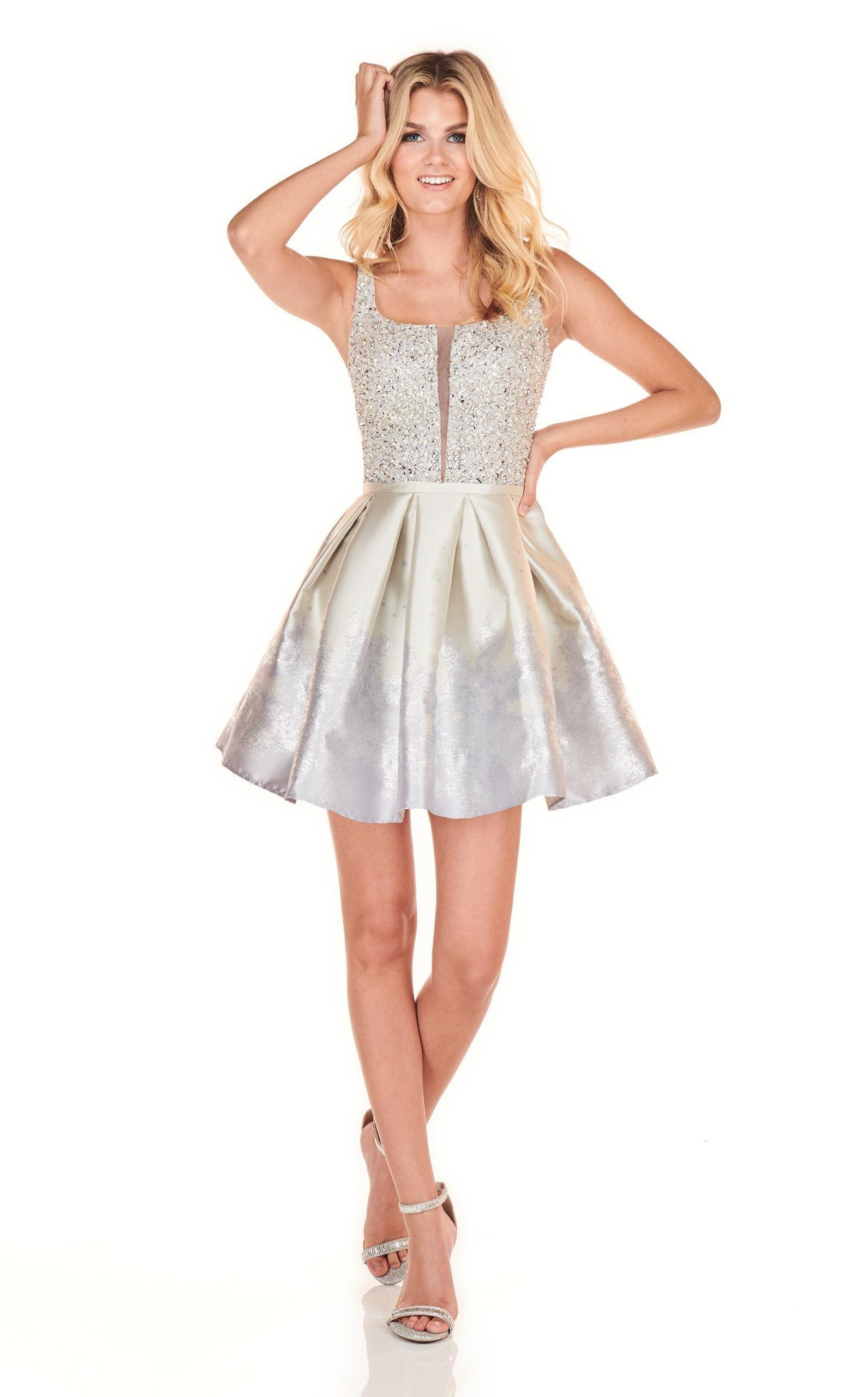 Rachel Allan Homecoming - 4037 Beaded Scoop A-Line Cocktail Dress In Silver