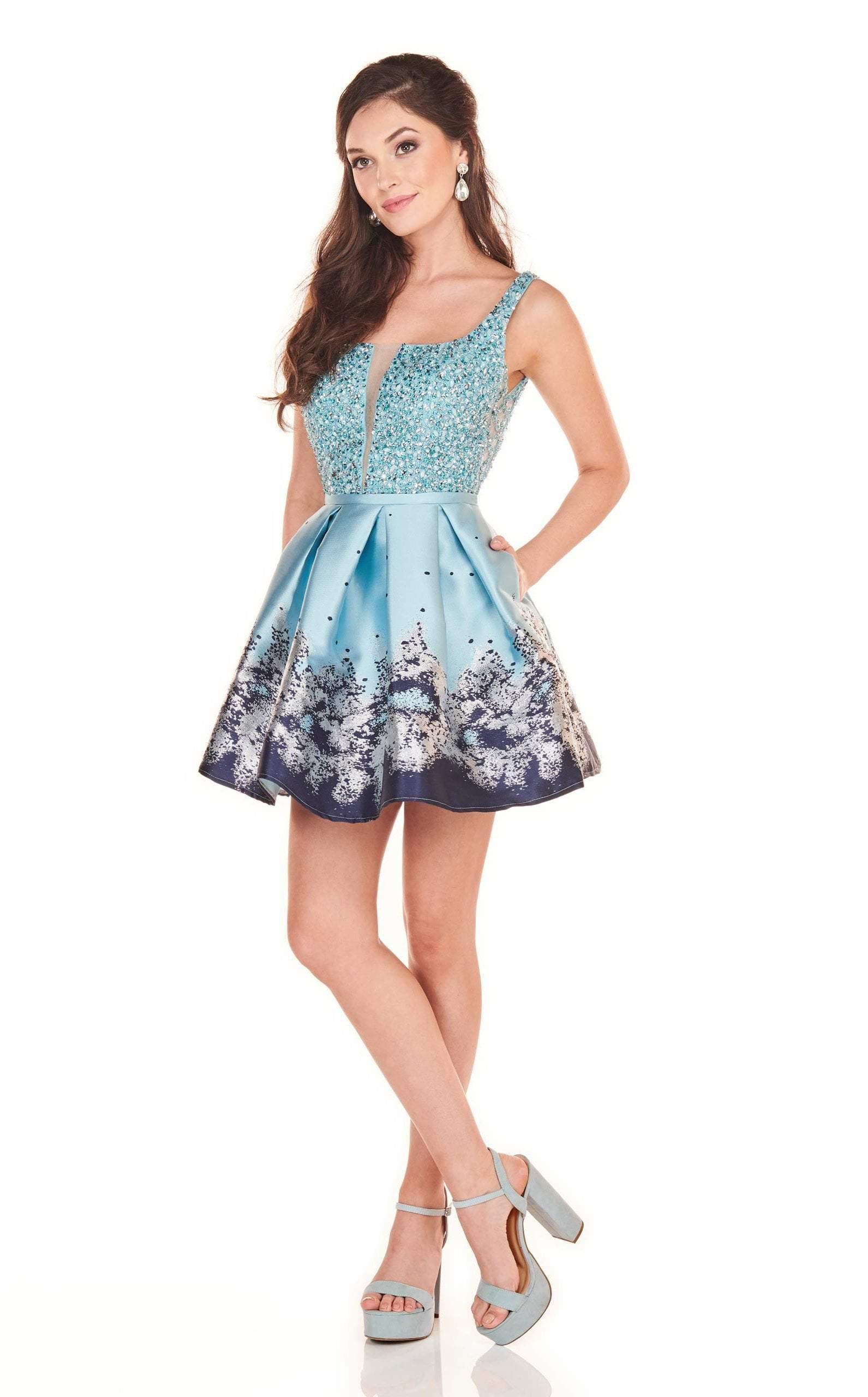 Rachel Allan Homecoming - 4037 Beaded Scoop A-Line Cocktail Dress In Blue