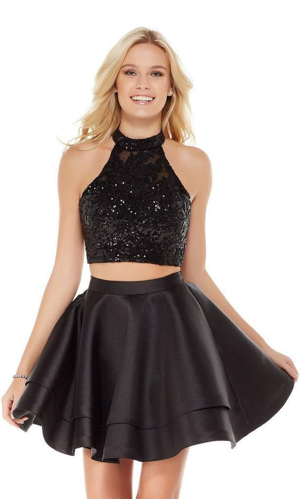 Alyce Paris - 4065 Two-Piece Sequins Halter Mikado Fit and Flare Dress In Black