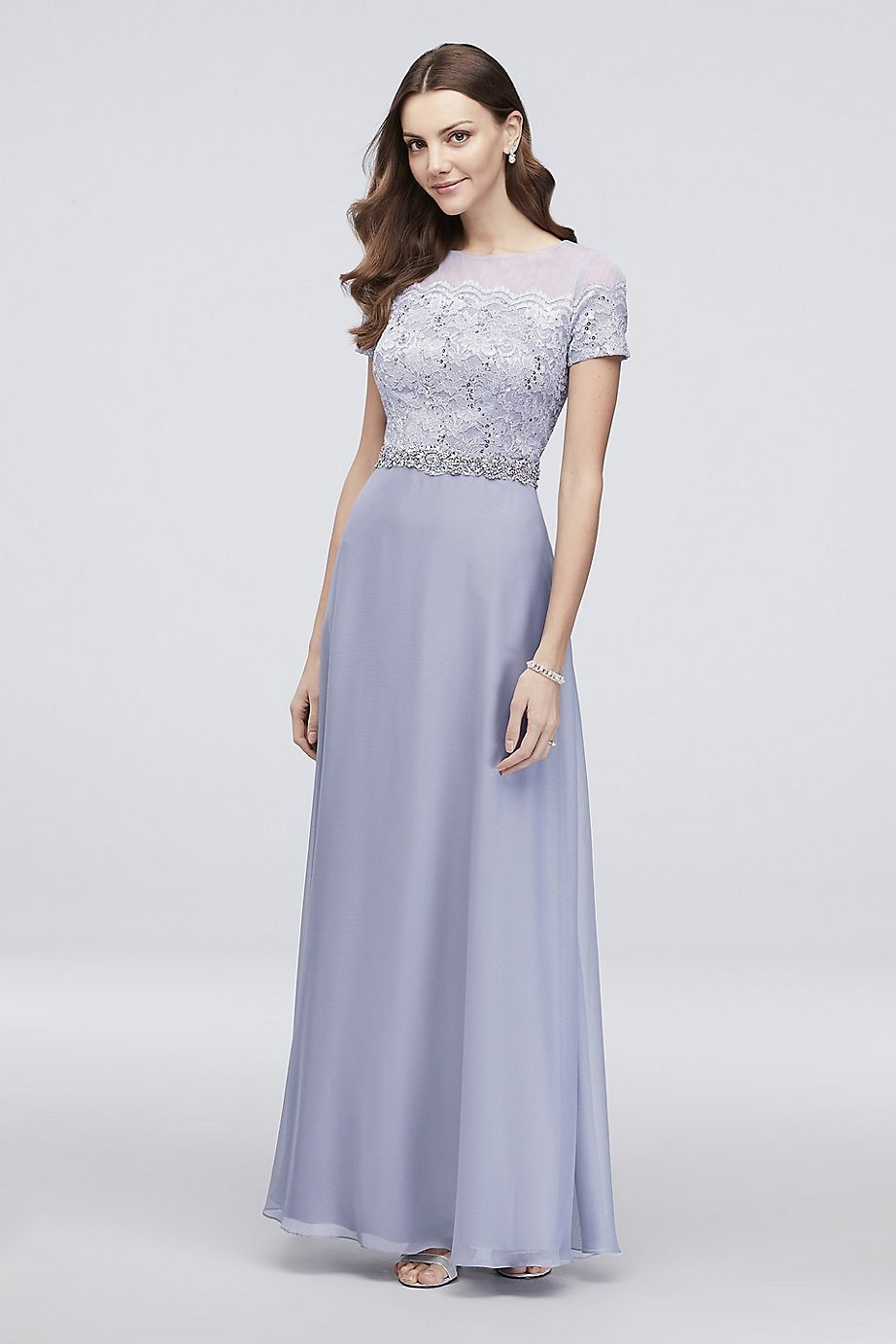 Cachet - 40391 Short Sleeve Sequin-Adorned Lace Long Dress In Purple