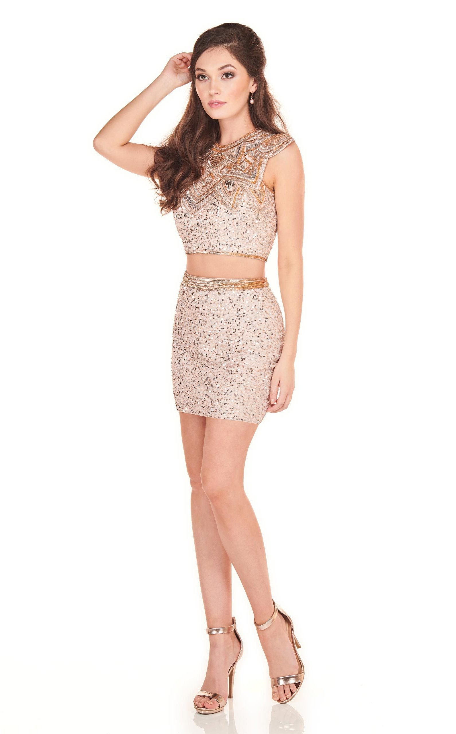 Rachel Allan Homecoming - 4041 Two Piece Beaded Jewel Cocktail Dress In Pink and Gold