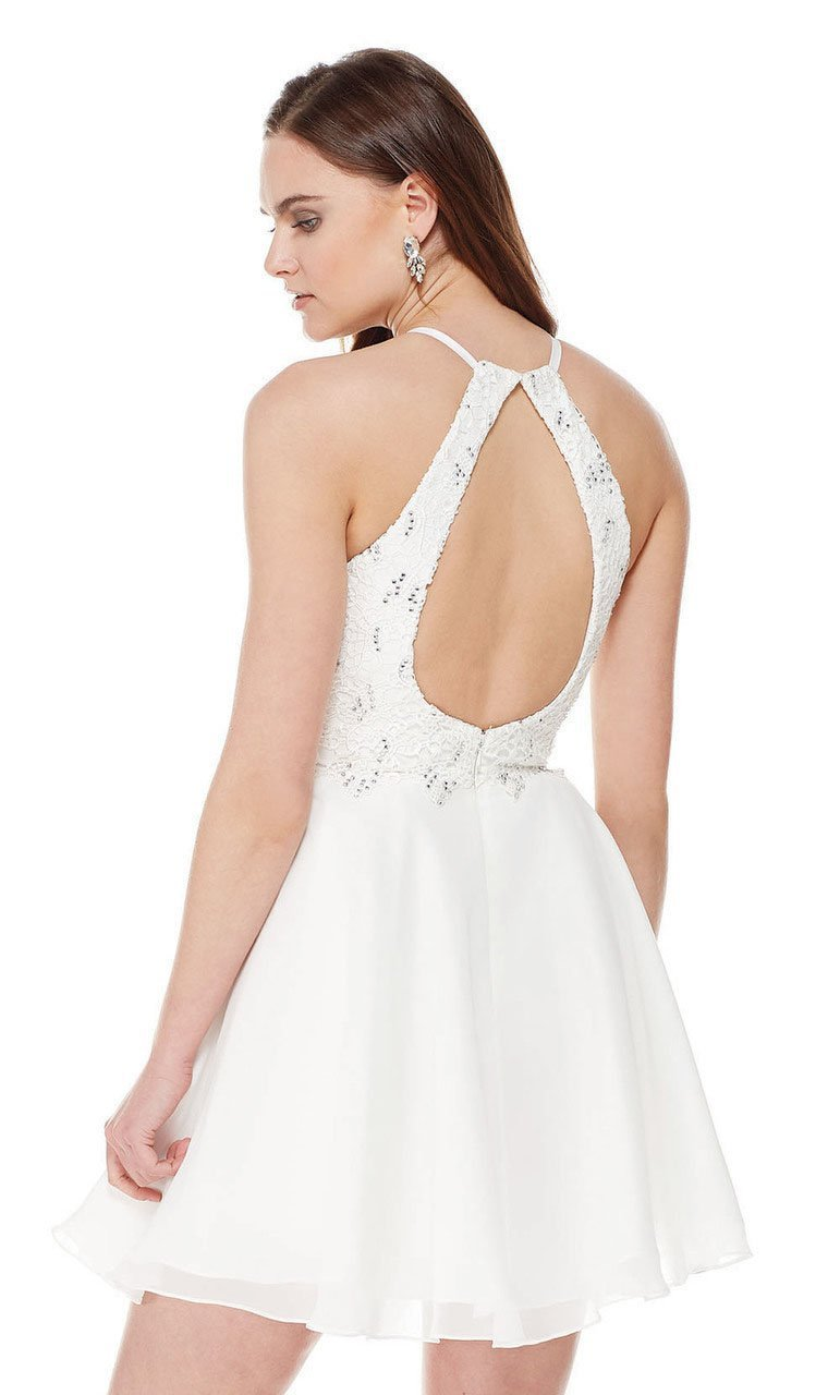 Beaded Lace with Cut out Back Skater Dress in White