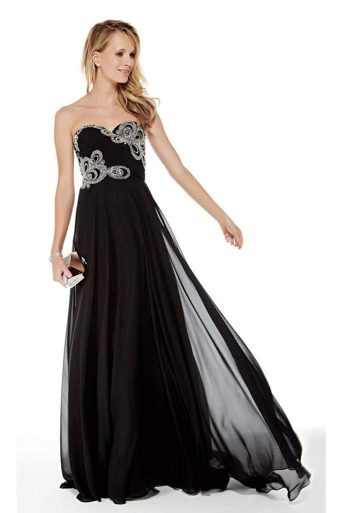 Alyce Paris - 5003 Strapless Sweetheart Neckline Beaded Chiffon Gown In Black