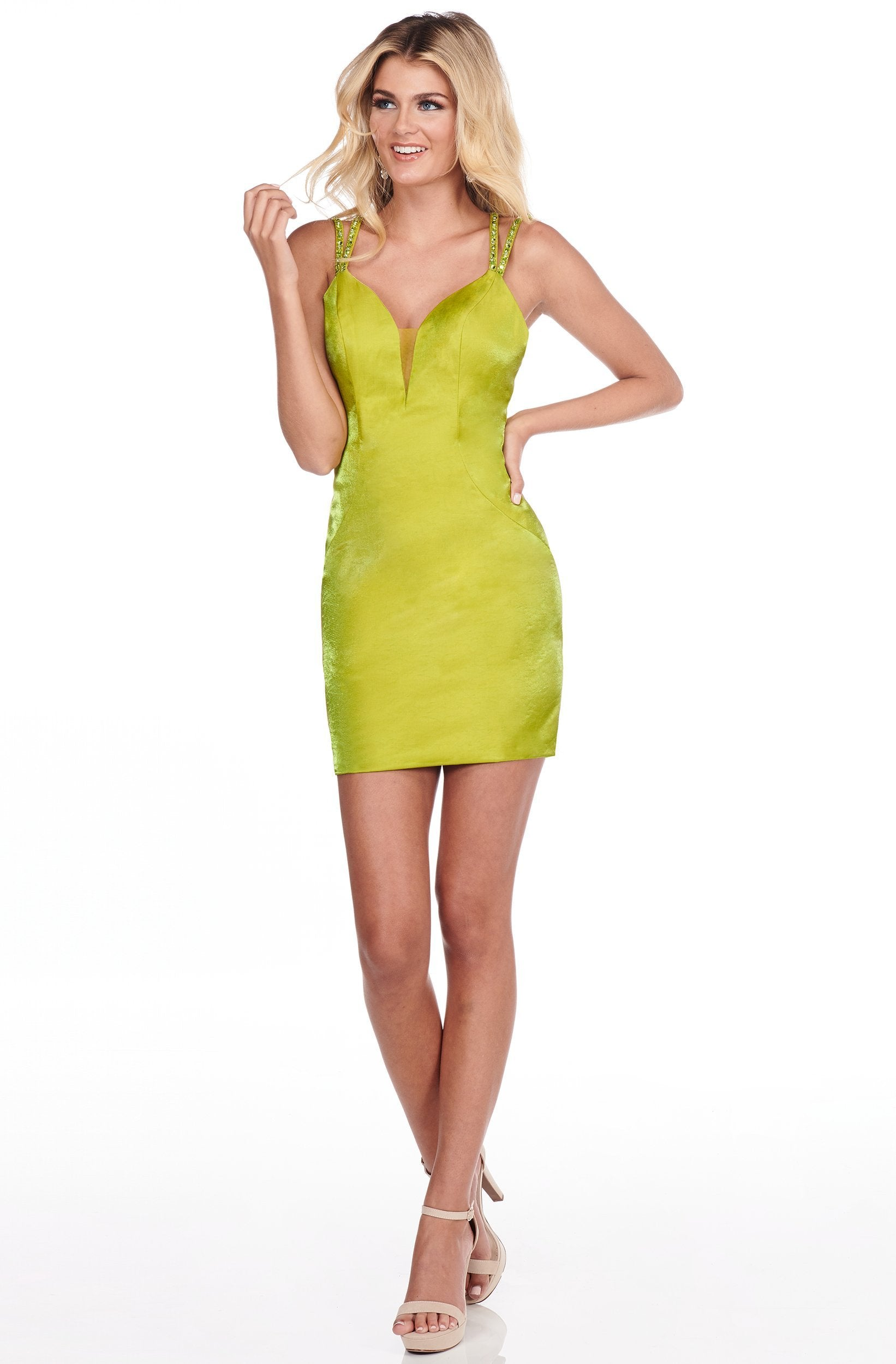Rachel Allan Shorts - 4067 Strappy Plunging V-Neck Short Dress In Green
