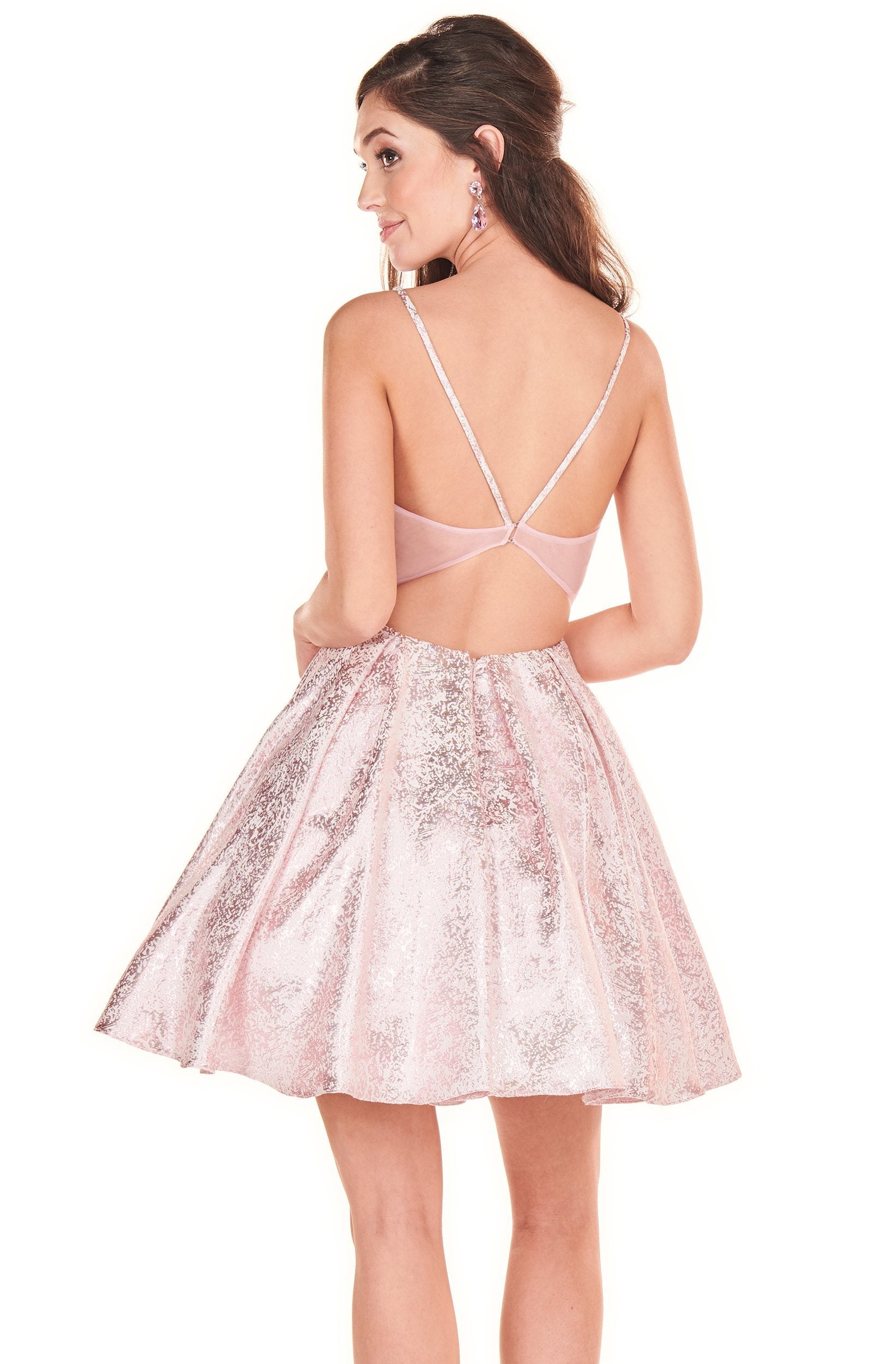 Rachel Allan Shorts - 4070 Sweetheart Ruffle A-Line Short Dress In Pink