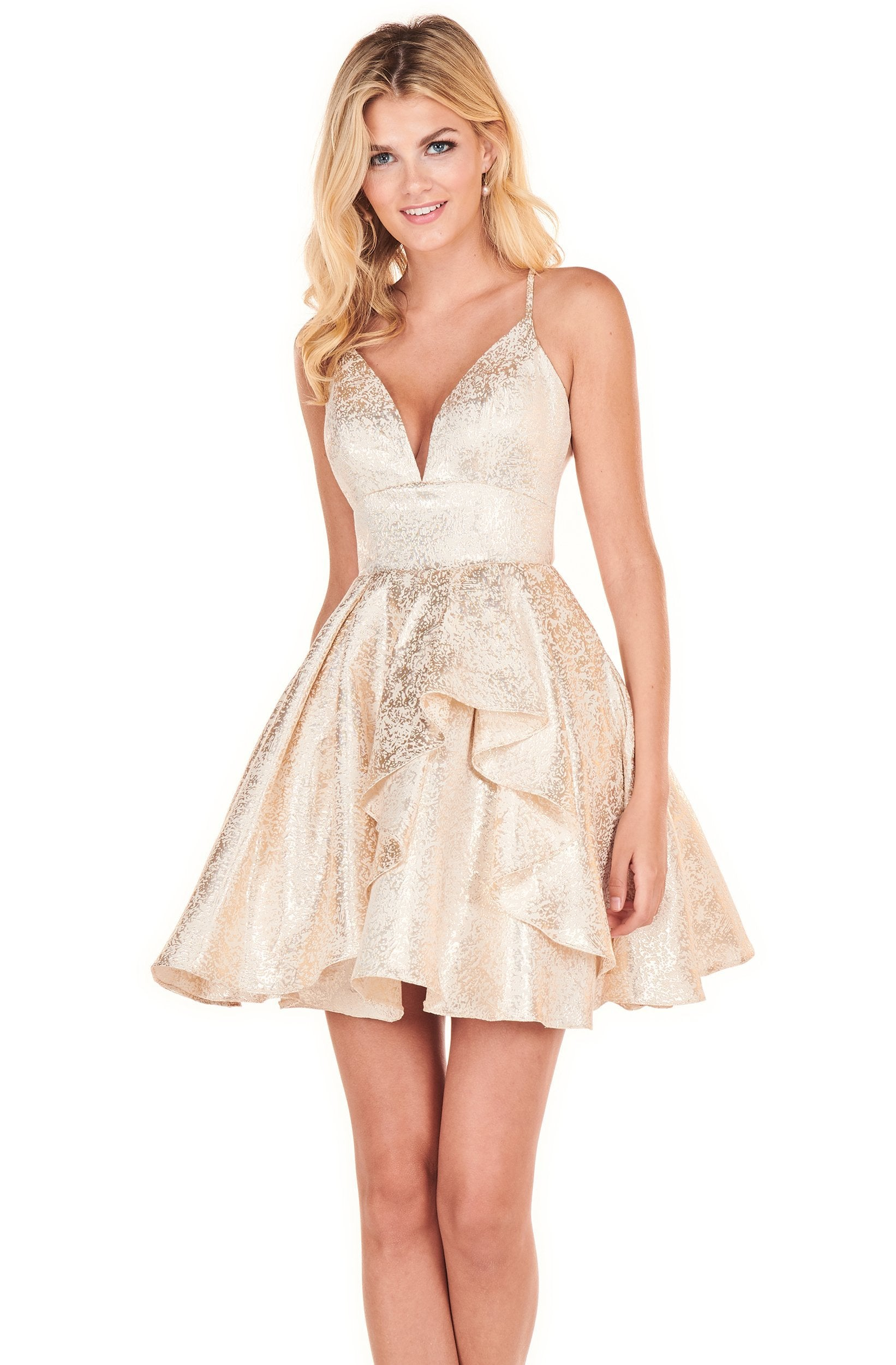 Rachel Allan Shorts - 4070 Sweetheart Ruffle A-Line Short Dress In Gold