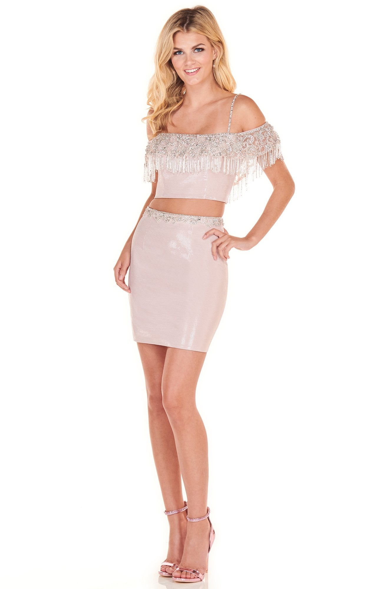 Rachel Allan Homecoming - 4072 Beaded Fringe Two Piece Sheath Dress In Pink and Silver