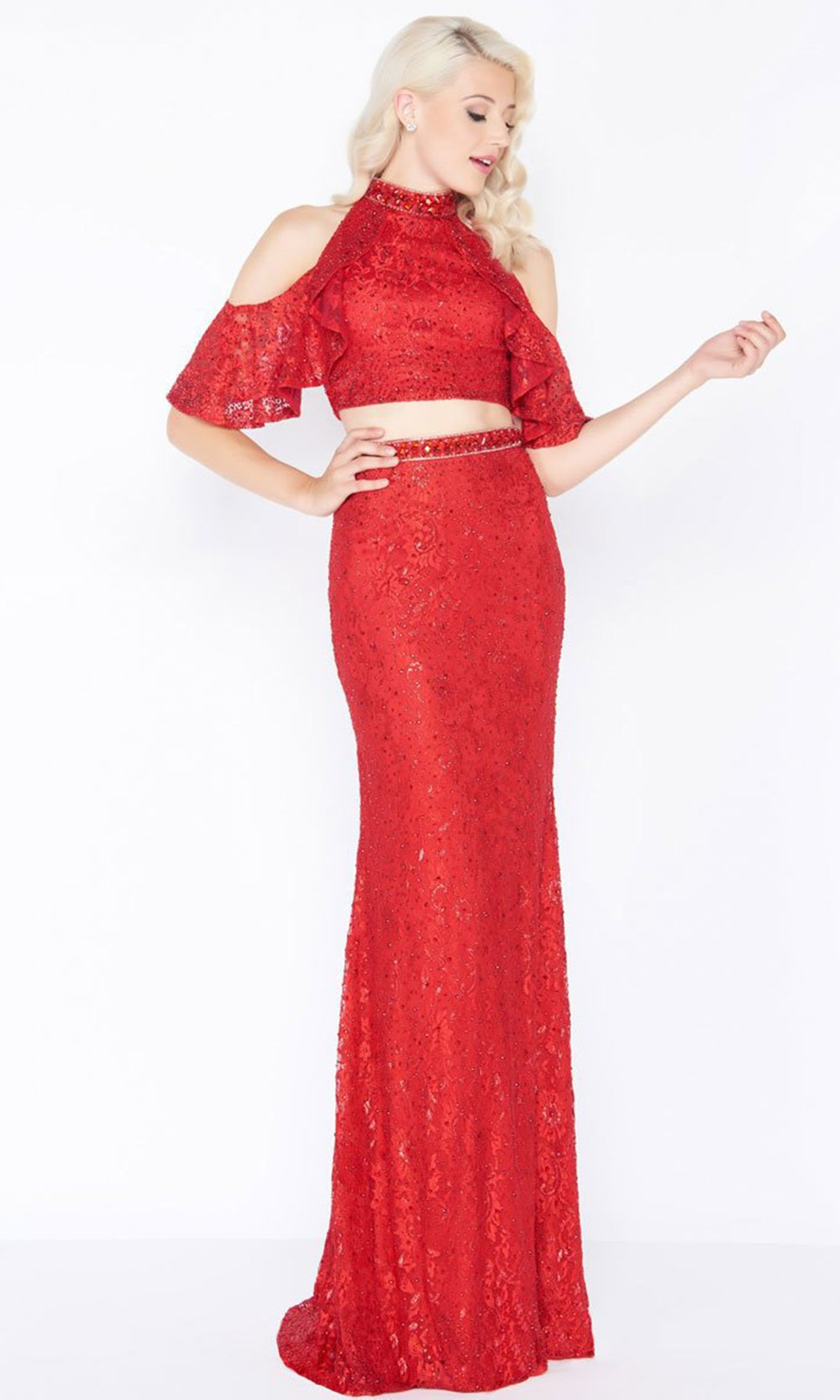 Mac Duggal - 40775M High Neck Ruffled Lace Two-Piece Gown In Red