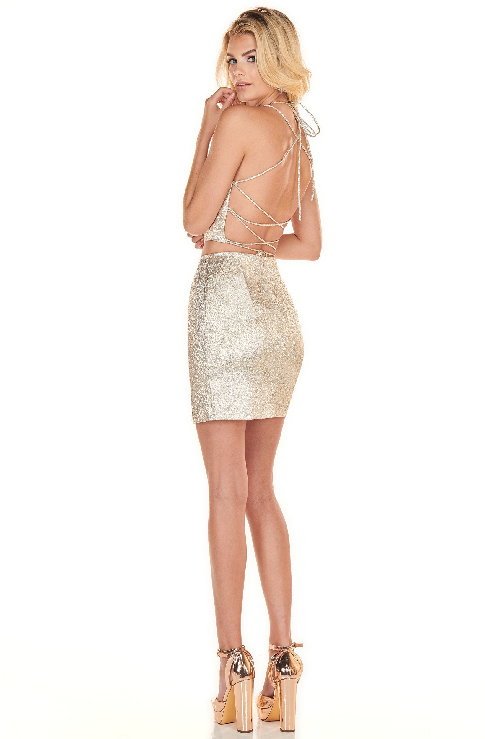 Rachel Allan Shorts - 4081 Two-Piece Metallic Short Sheath Dress In Gold