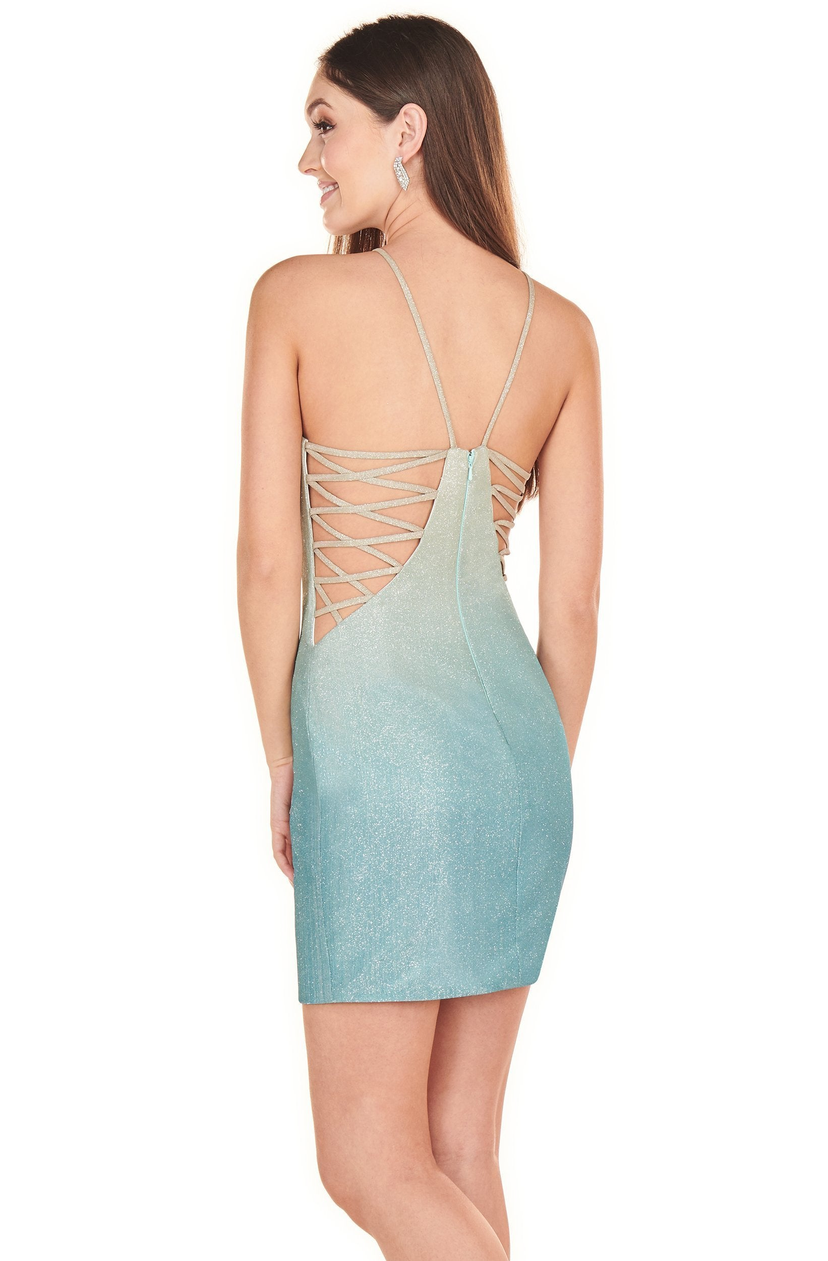 Rachel Allan Shorts - 4088 Halter Glitter Strappy Back Sheath Dress In Blue
