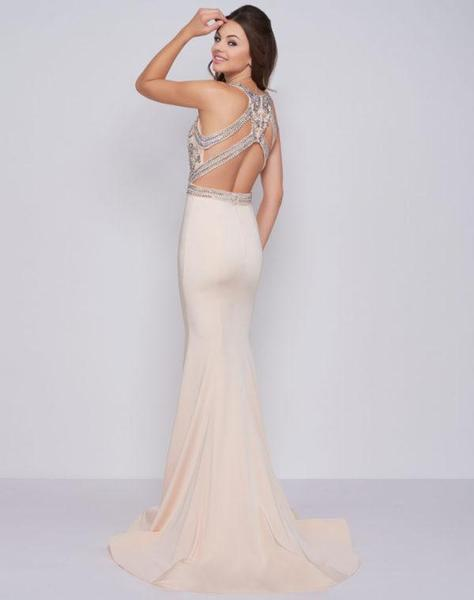 Cassandra Stone - 40934A Beaded Halter Mermaid Dress With Train In Neutral