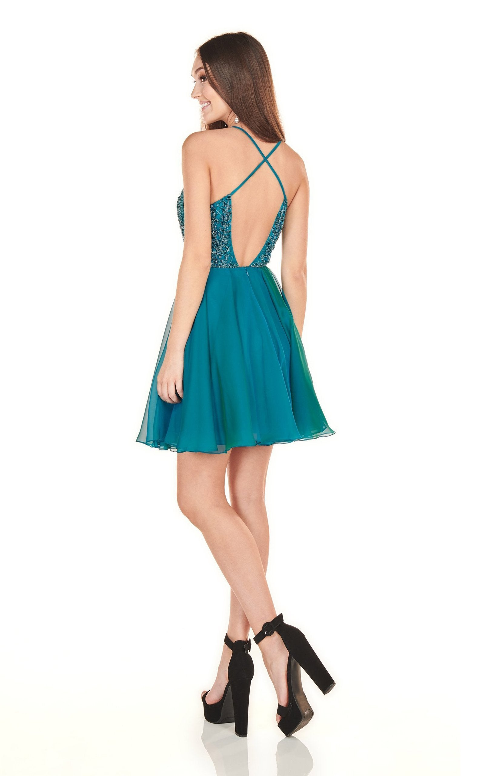 Rachel Allan Homecoming - 4100 Applique Plunging V-neck Chiffon Dress In Green