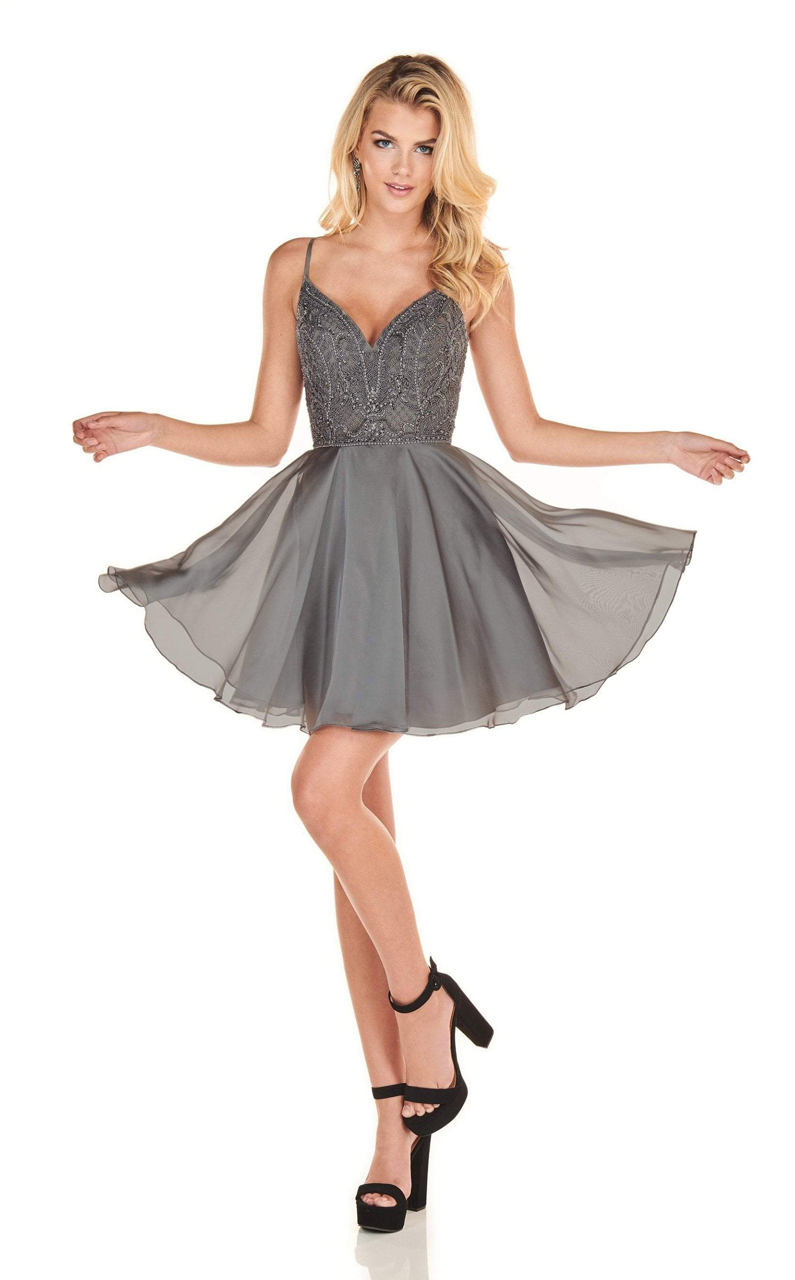 Rachel Allan Homecoming - 4100 Applique Plunging V-neck Chiffon Dress In Gray