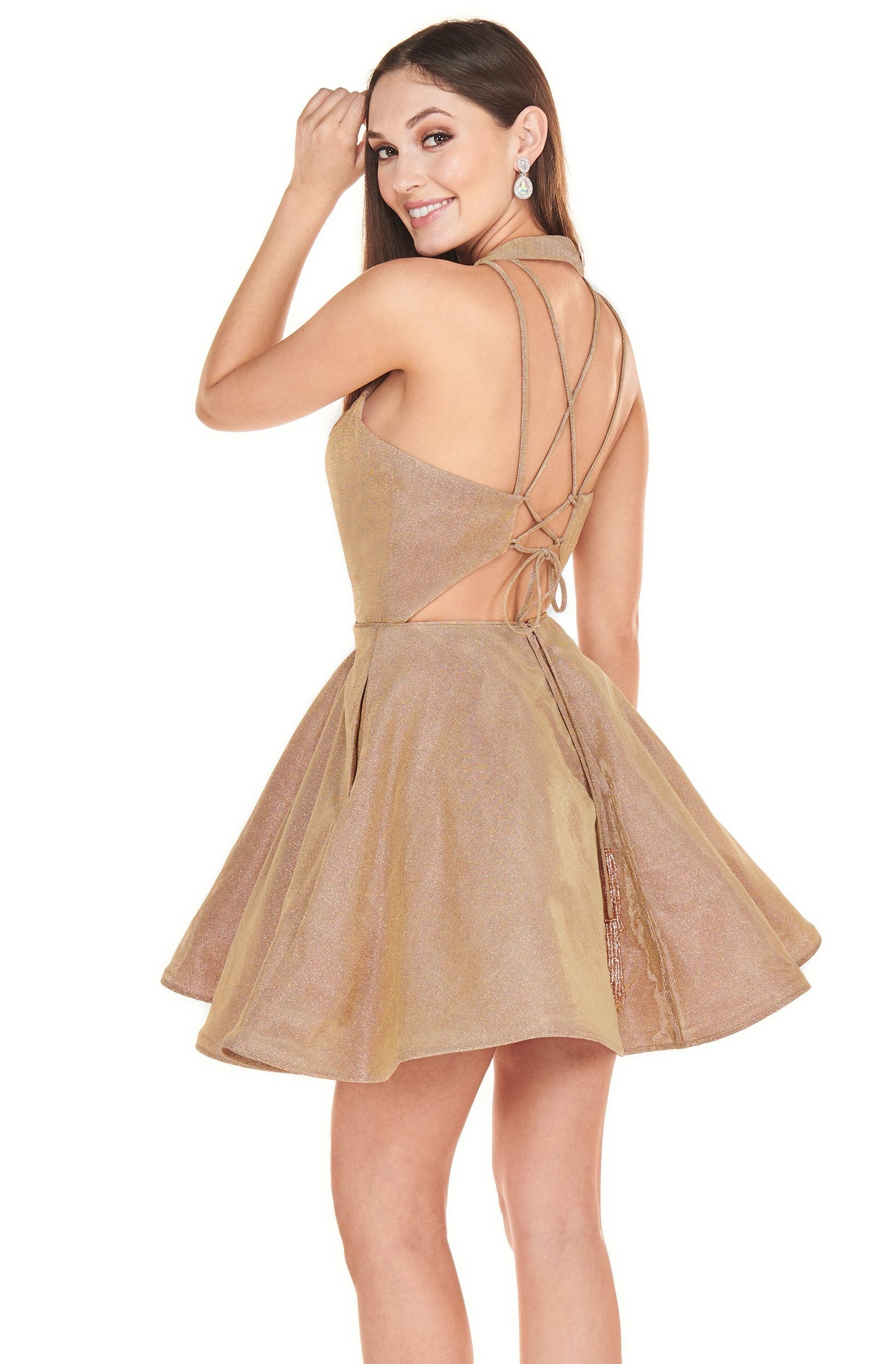Rachel Allan Shorts - 4102 Halter Shimmer A-Line Mini Dress In Gold
