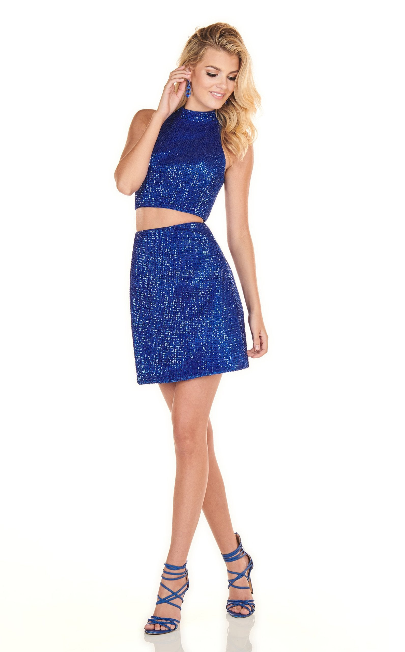 Rachel Allan Homecoming - 4104 Two Piece Sequined Sheath Dress In Blue
