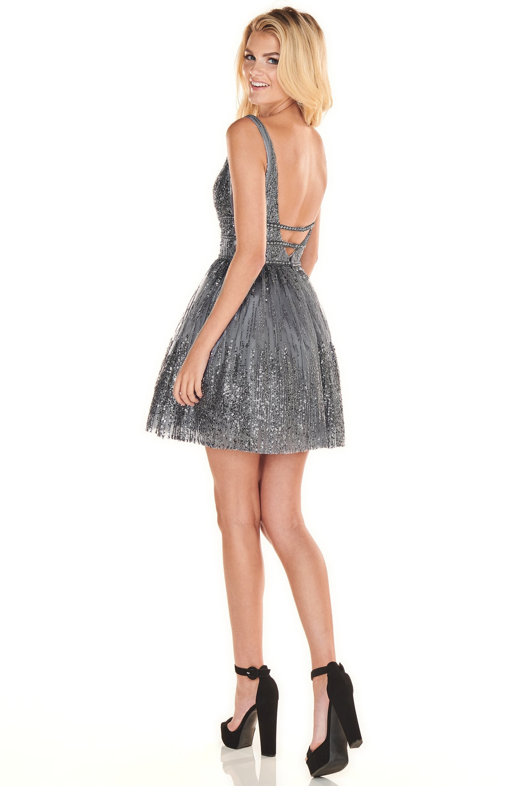 Rachel Allan Shorts - 4108 Sexy V-Neck Embellished A-Line Mini Dress In Gray