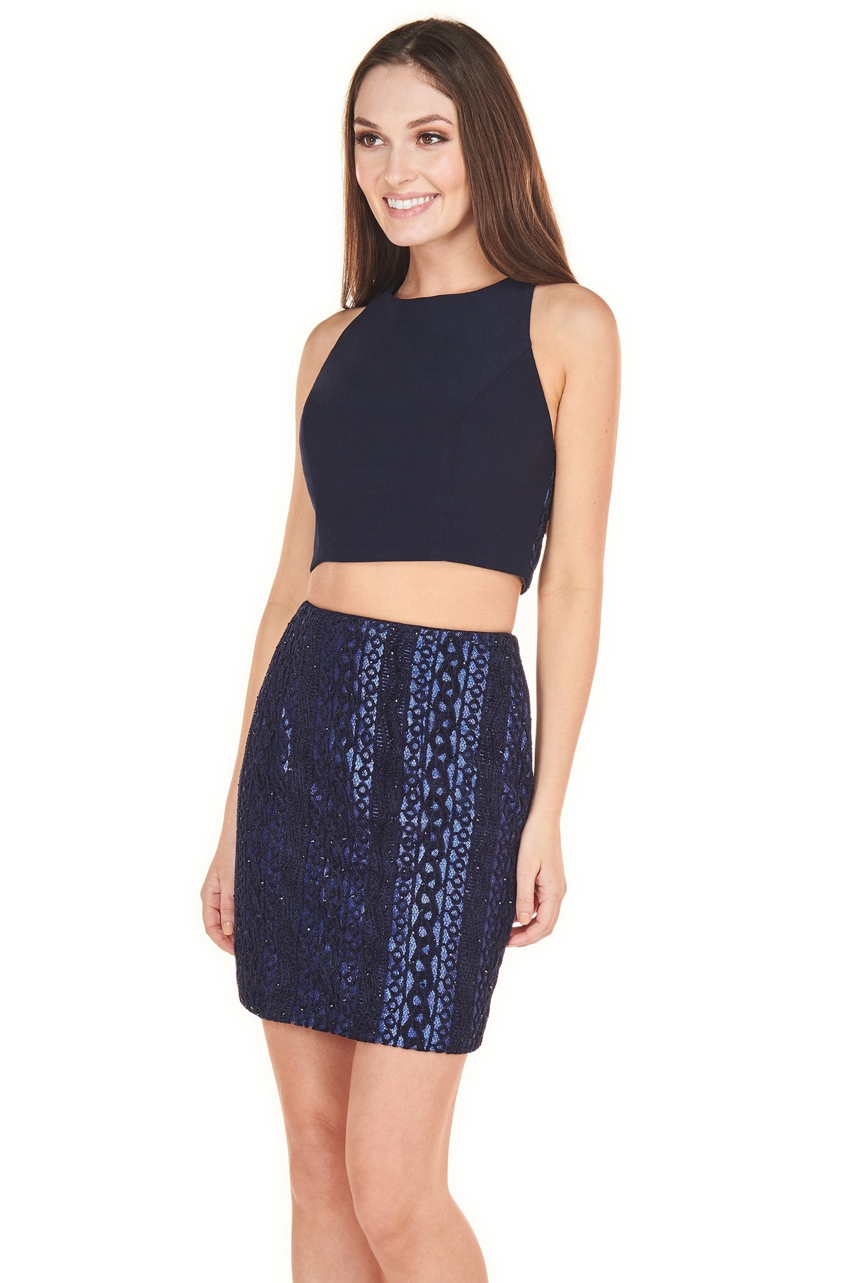 Rachel Allan Shorts - 4118 Two-Piece Jewel Short Sheath Dress In Blue