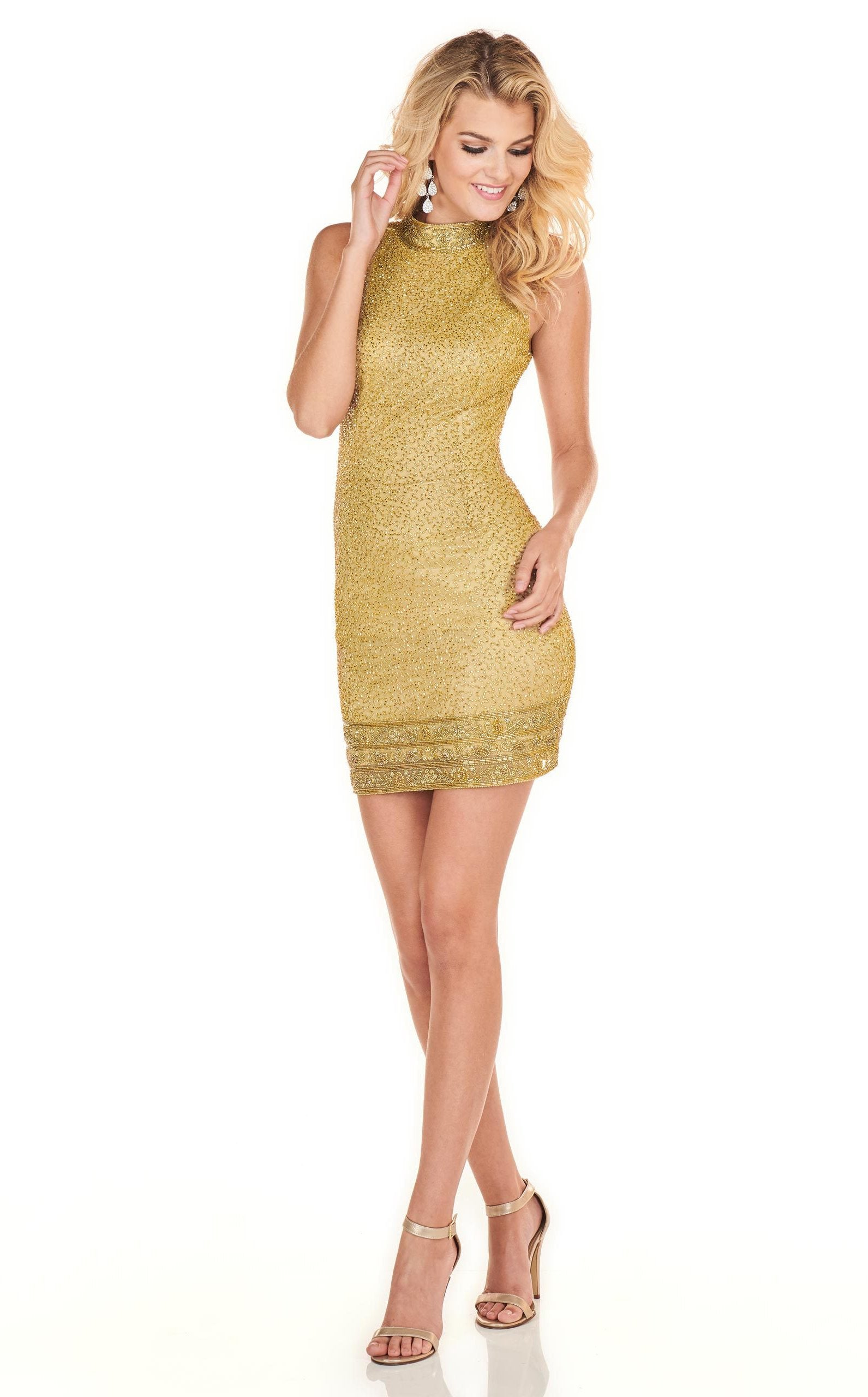Rachel Allan Homecoming - 4134 Embellished High Halter Sheath Dress in Gold