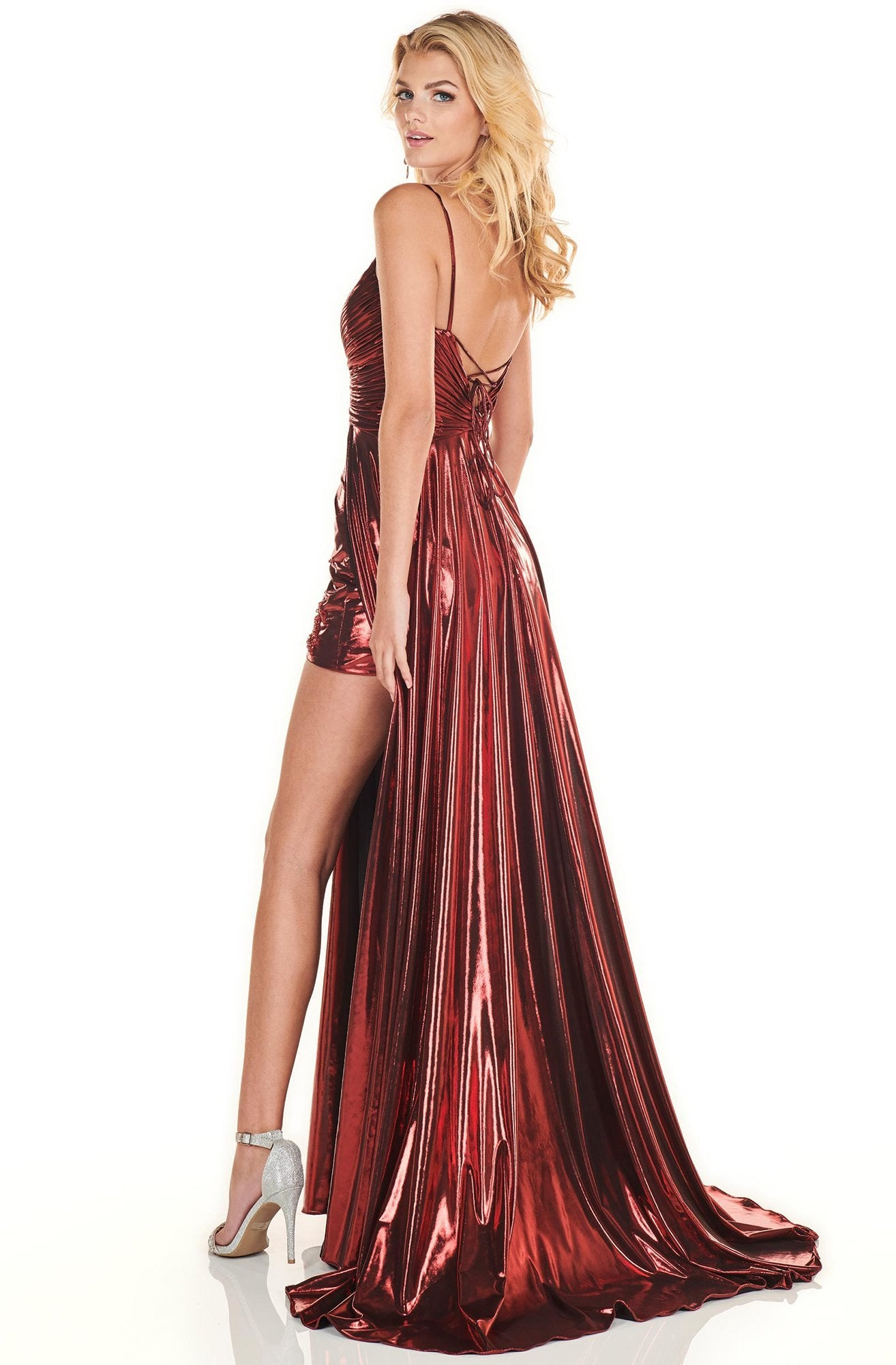 Rachel Allan Homecoming - 4142 Ruched Deep V-neck A-line Gown In Red