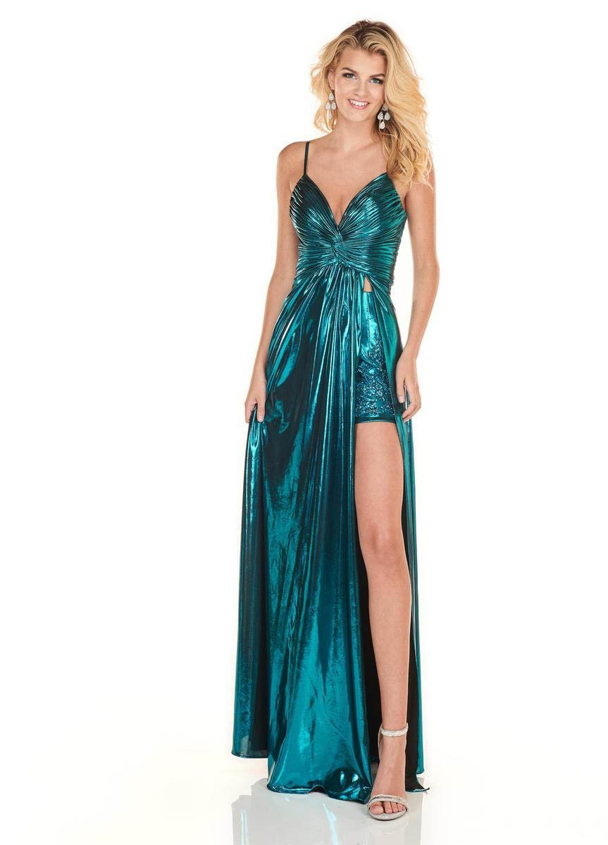 Rachel Allan Homecoming - 4142 Ruched Deep V-neck A-line Gown In Green