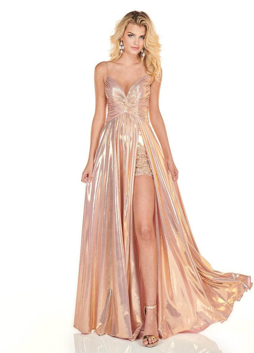 Rachel Allan Homecoming - 4142 Ruched Deep V-neck A-line Gown In Pink