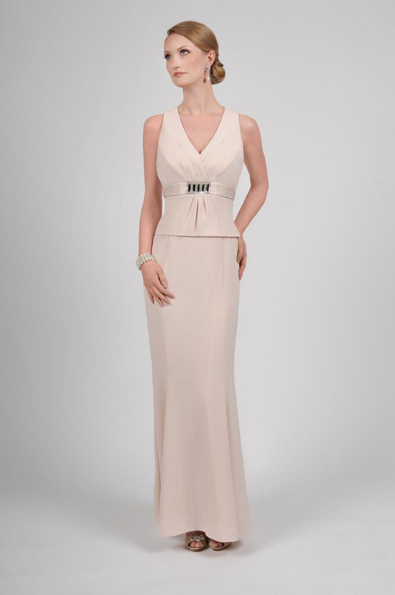 Daymor Couture - 418 Sleeveless V Neck Empire Gown with Bolero In Neutral