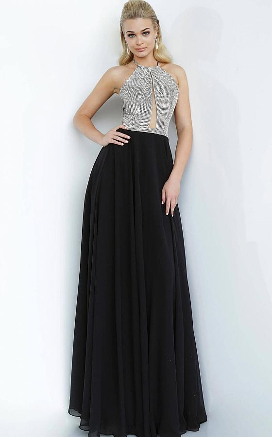 Jovani - 4201 Embellished Halter A-Line Gown In Black