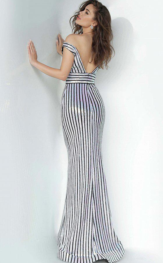 Jovani - 4217 Off-Shoulder Stripped Sequin Sheath Dress In White and Black