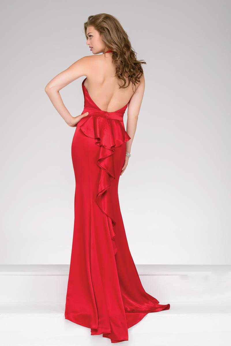 Jovani - Marvelous Fit and Flare Prom Gown in Plunging V-Neckline 42309 in Red