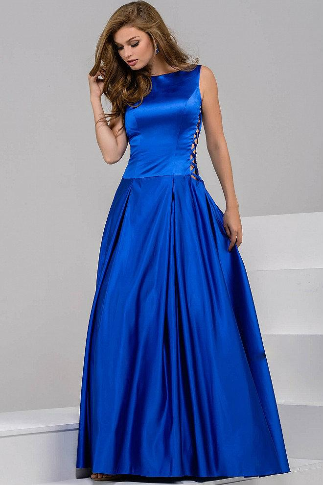 Jovani - Stunning Satin Boat Neckline V Back Ball Gown 42470 in Blue