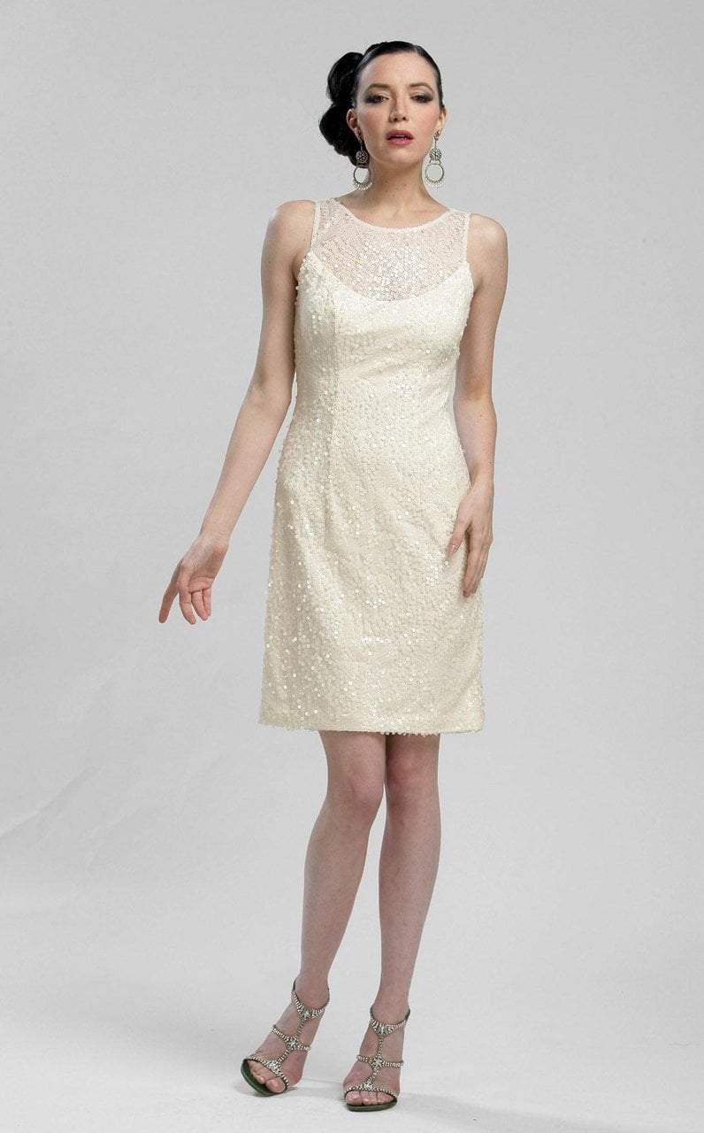 Sue Wong - N3211 Sleeveless Jewel Illusion Sequined Sheath Dress in Neutral
