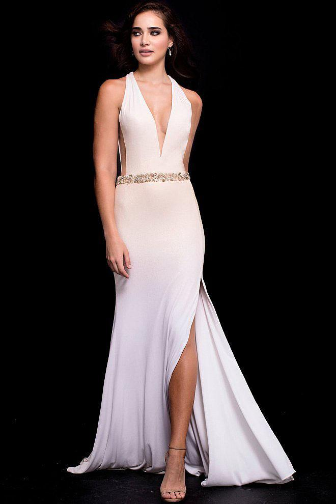 Jovani - 42722 Embellished Deep V-neck Jersey Sheath Dress in Gold and White