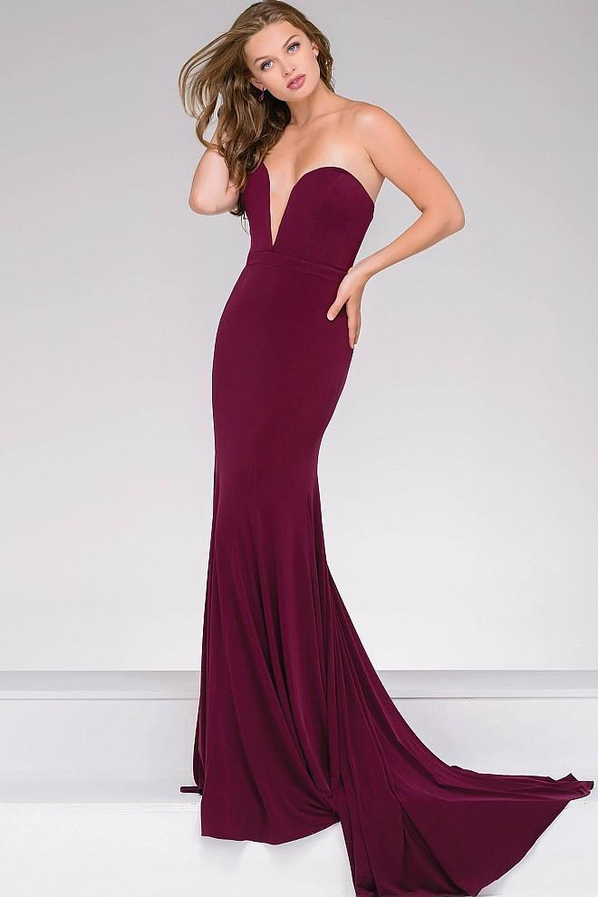 Jovani - Strapless Sweetheart Fitted Prom Dress 42842 in Purple