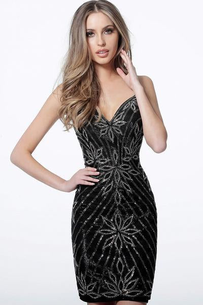 Jovani - 4391 Embellished V-Neck Fitted Cocktail Dress In Black
