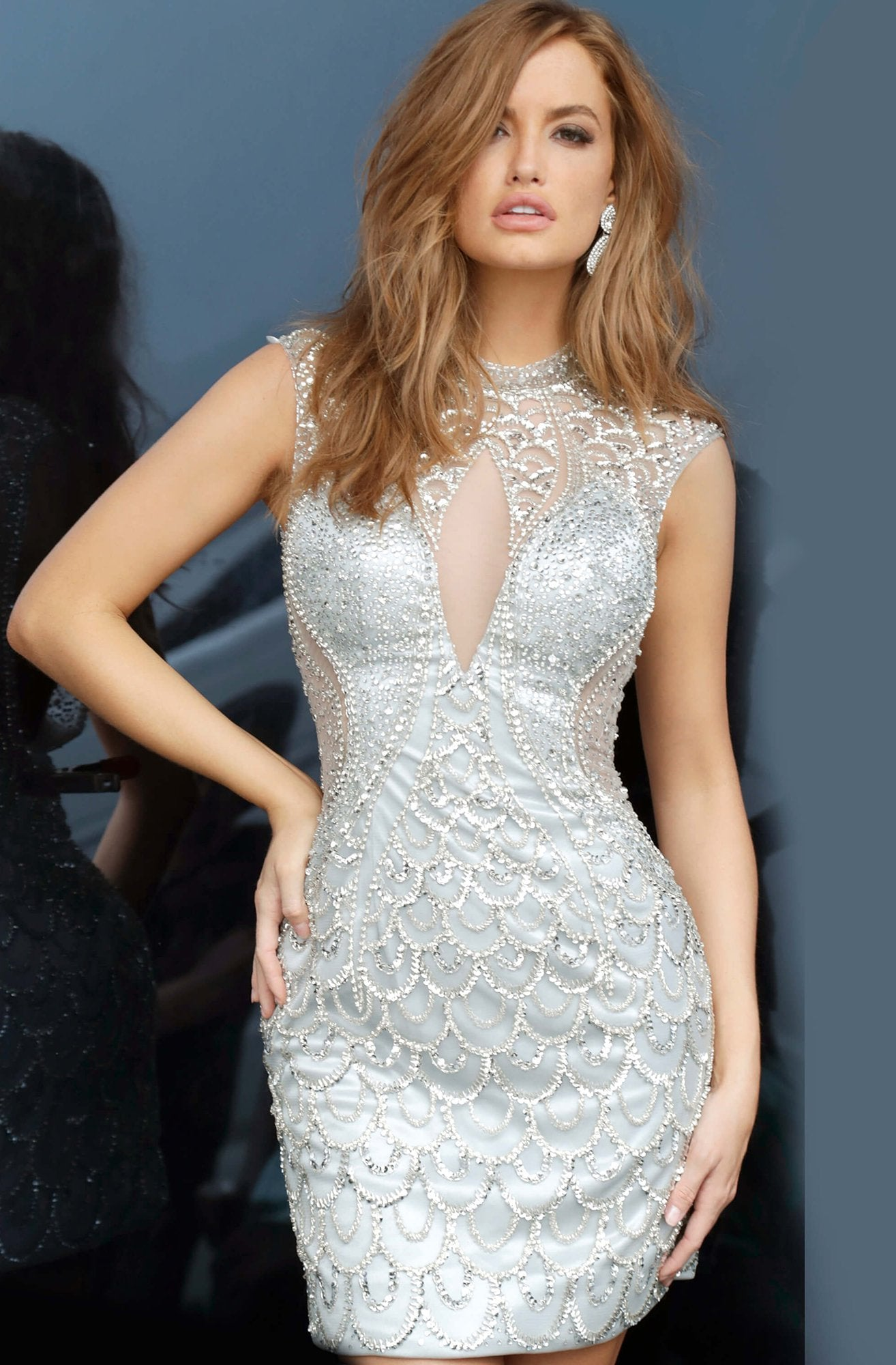 Jovani - 4423 Illusion Embellished Short Sheath Dress In Silver