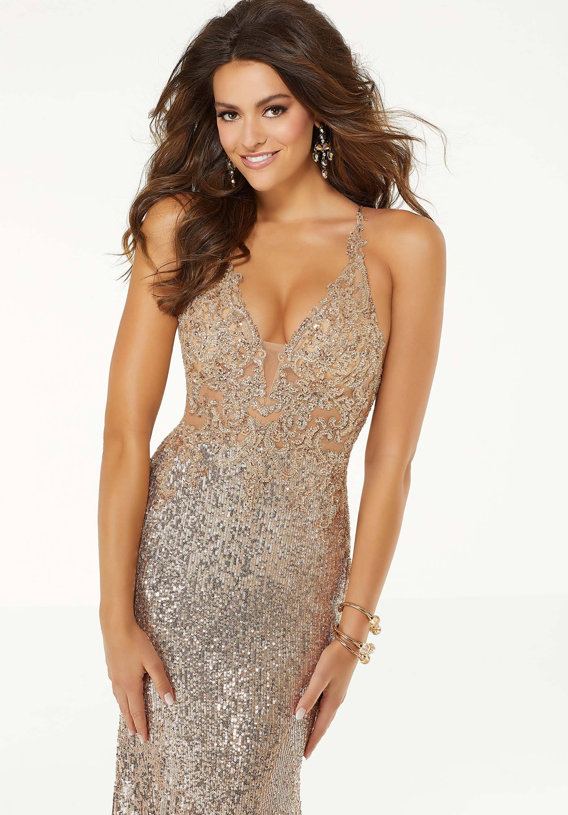 Mori Lee - 45059SC Sequined Lace Plunging V-neck Gown With Train